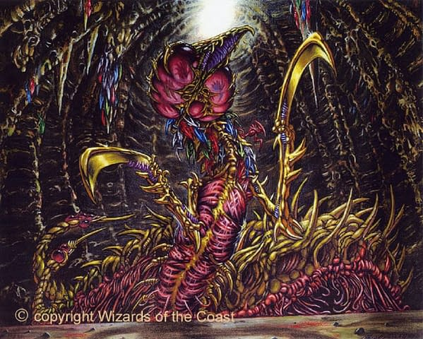 The artwork for the notorious Sliver Queen, from Magic: The Gathering's set Stronghold. Illustrated by Ron Spencer.