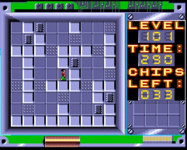 A screenshot of a puzzle level from indie publisher The Retro Room Games' version of Chip's Challenge, out soon for SNES and Sega Genesis/Mega Drive consoles.