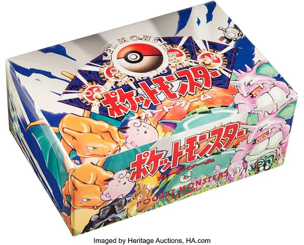 An angled photograph of the Japanese booster box of Base Set Pokémon TCG cards, currently on auction at Heritage Auctions.