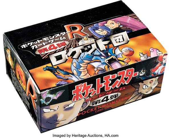 An angled photograph of the Japanese Team Rocket booster box from the Pokémon TCG, currently on auction at Heritage Auctions.