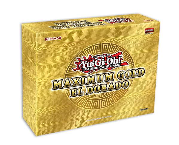 A look at the Yu-Gi-Oh! TCG Maximum Gold: El Dorado box, courtesy of Konami.