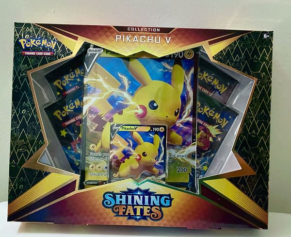 Pokémon TCG Shining Fates Pikachu V Collection Box. Credit: TPCI