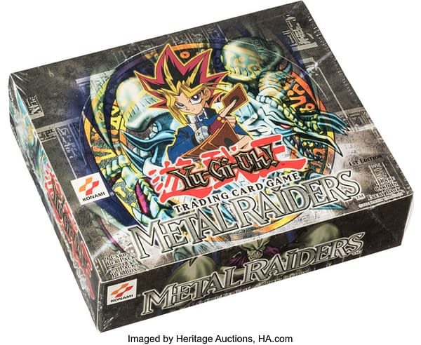 An angled shot of the 1st Edition box of Metal Raiders from the Yu-Gi-Oh! card game. Currently available at auction on Heritage Auctions' website.