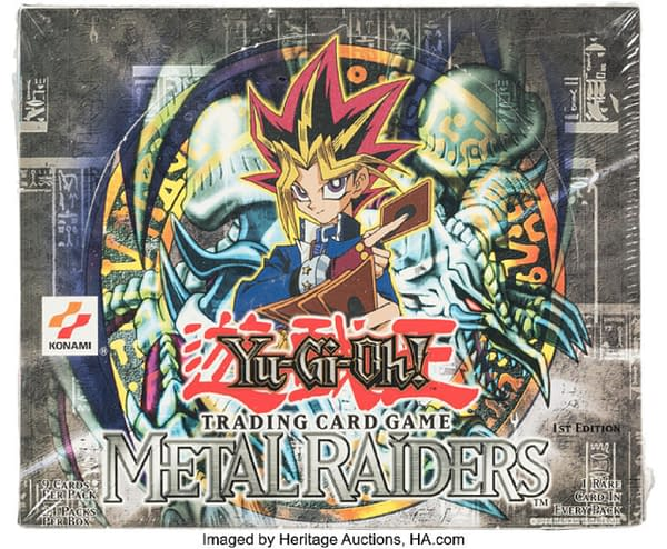 The front of the 1st Edition box of Metal Raiders from the Yu-Gi-Oh! card game. Currently available at auction on Heritage Auctions' website.