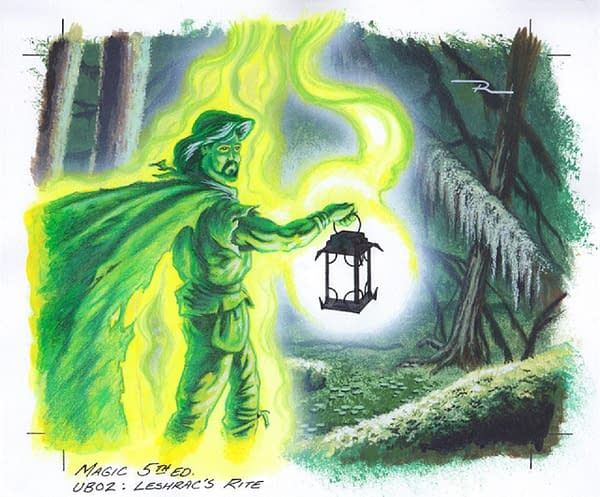 The original artwork for Leshrac's Rite, a card with art from Fifth Edition, an expansion set for Magic: The Gathering. Illustrated by Max Raabe.