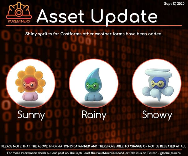 Pokémon GO to Debut Shiny Castform Variants Before Main Series. Credit: Poke Miners