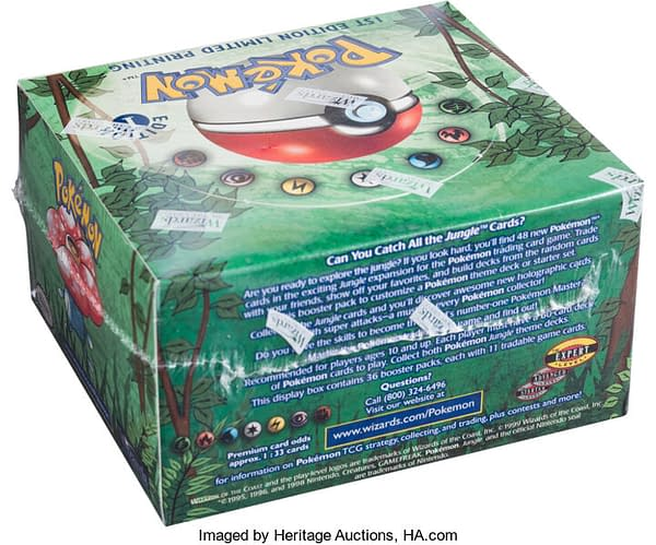 An angled rear view of the 1st Edition Jungle booster box on auction via Heritage Auctions.