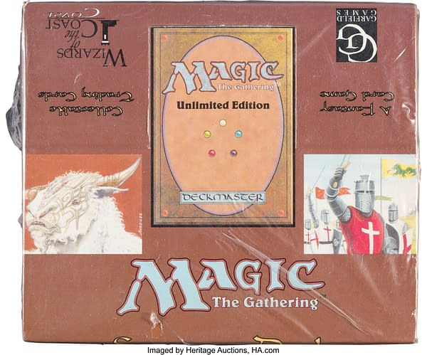 The front of the display box for ten Unlimited starter decks from Magic: The Gathering. Currently available on the auction block at Heritage Auctions.