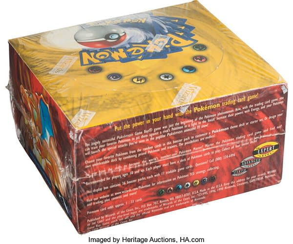 An angular rear view of the auctioned unlimited Base Set booster box from the Pokémon Trading Card Game.
