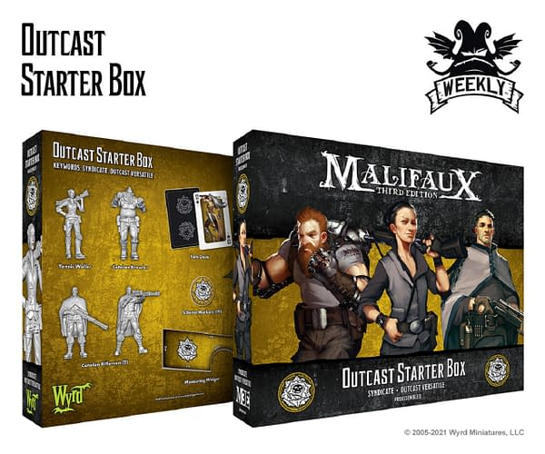 The front and back of the packaging for Malifaux's Outcast Starter Box by Wyrd Miniatures.
