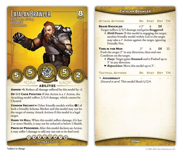 The front and back faces of the Catalan Brawler's stat card. Included inMalifaux's Outcast Starter Box.