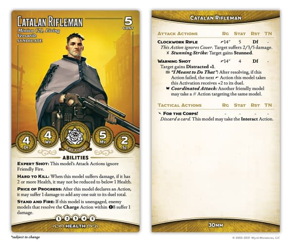 The stat card for one of two Catalan Riflemen, an all-new miniature type for Malifaux, to be found in the Outcasts Starter Box. Image Attributed to Wyrd Miniatures.