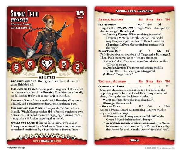 The front and back of the stat card for Sonnia Criid, Unmasked, a new, yet familiar Master for Malifaux's third edition. Attributed to Wyrd Miniatures.