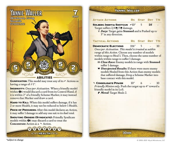 The stat card for Yannic Waller, an all-new character miniature for Malifaux, to be found in the Outcasts Starter Box. Image Attributed to Wyrd Miniatures.