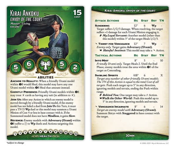 The stat cards for Kirai Ankoku, Envoy of the Court, from Wyrd Miniatures' objective-based skirmish game, Malifaux.