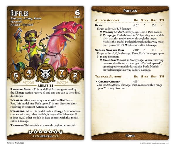"""The stat card for Ruffles, the rooster (or is it the jockey?) from Malifaux's yucky, mucky """"greenskin"""" faction, The Bayou."""
