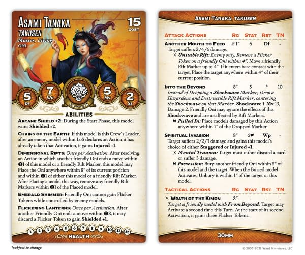 The front and back faces of the new card for Asami Tanaka, Takusen, from the third edition of Malifaux by Wyrd Games.