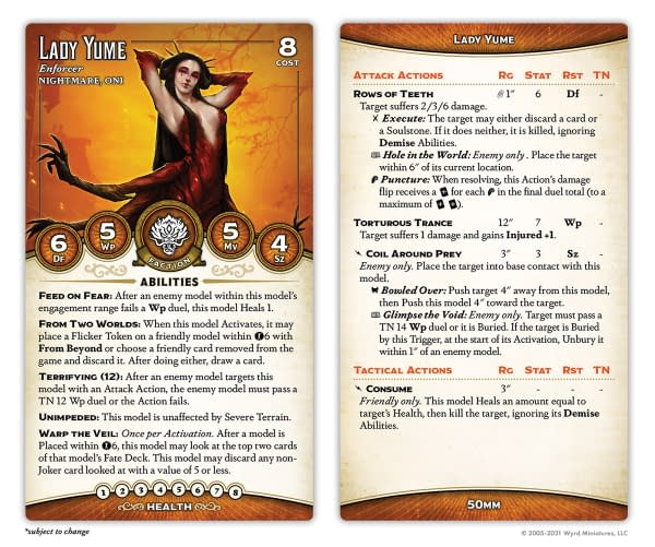 The stat card for Lady Yume, a new Nightmare/Oni model for the Ten Thunders faction and for The Dreamer. Image attributed to Malifaux Third Edition, by Wyrd Games.
