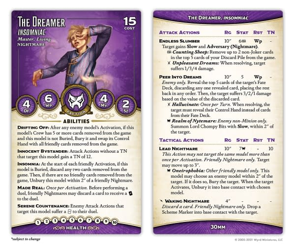 Wyrd Games Shows Off New Malifaux Master Title For ThThe stat card for The Dreamer, Insomniac, a new title for the Neverborn Master. Image attributed to Malifaux Third Edition, by Wyrd Games.e Dreamer