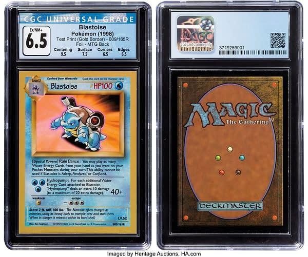 "Pokémon TCG Blastoise #009/165R Test Print ""Gold Border"" Foil. Credit: Heritage"