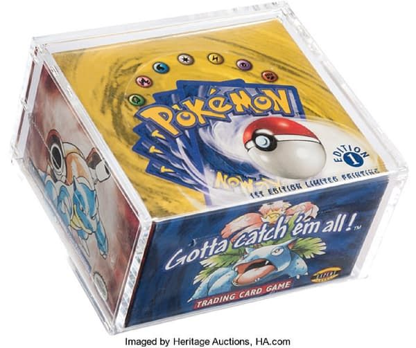 An angled shot of the box of first edition Base Set from the Pokémon TCG, on auction at Heritage Auctions right now!