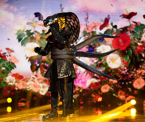 "THE MASKED SINGER: Serpent in the ""Six More Masks"" episode of THE MASKED SINGER airing Wednesday, Sept. 30 (8:00-9:00 PM ET/PT) on FOX. © 2020 FOX MEDIA LLC. CR: Michael Becker/FOX."