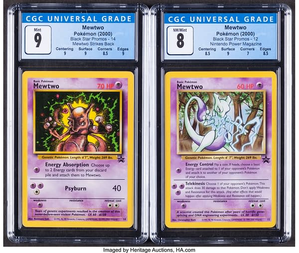 The front of the pair of Mewtwo Pokémon TCG cards currently being auctioned at Heritage Auctions' website.