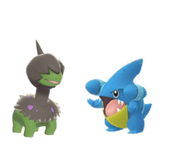 Shiny Deino and Shiny Gible in Pokémon GO. Credit: Niantic