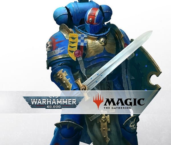 Key art from the miniature wargame Warhammer 40,000, a key IP from Games Workshop that's being used by Magic: The Gathering for part of their Universes Beyond initiative.