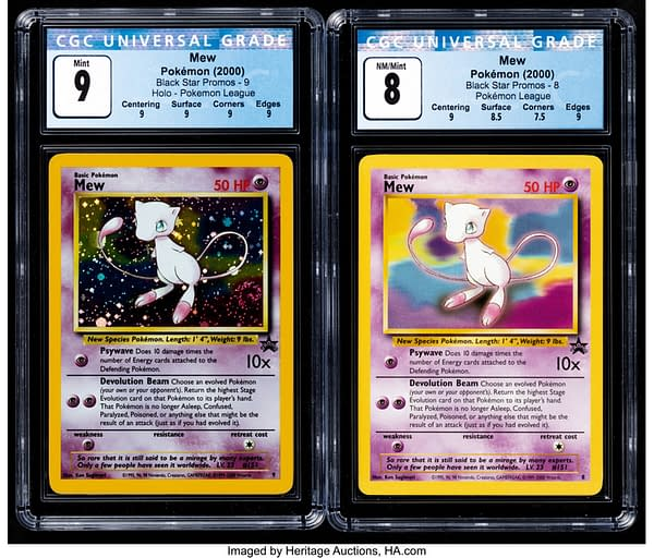 Two different Black Star Promo copies of Mew from the Pokémon TCG - one normal, another holographic - currently auctioned at Heritage Auctions.