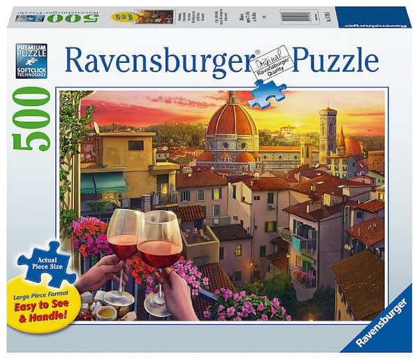 """Ravensburger's """"Cozy Wine Terrace"""" puzzle, a new addition to 2021's collection of games by the company."""