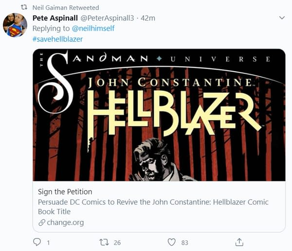 Neil Gaiman Approves Of #SaveHellblazer Campaign To DC Comics