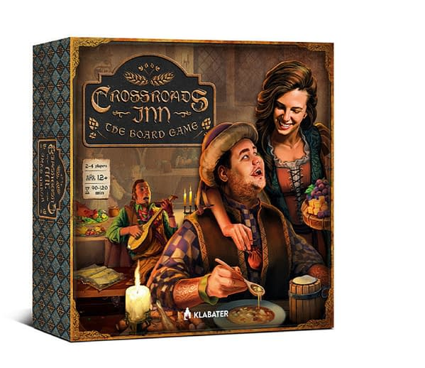 The front of the proposed box cover of Crossroads Inn, the tabletop board game adaptation of the video game of the same name by Polish game designer Klabater.