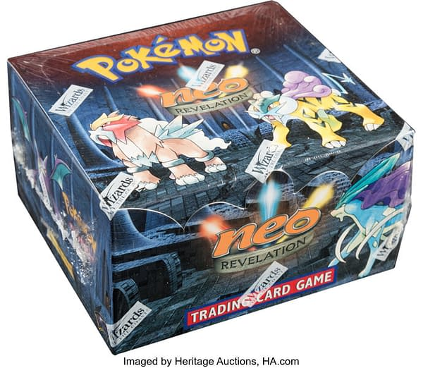 An angled photograph showing the sealed, 1st Edition booster box of Neo Revelation from the Pokémon TCG. Available at auction on Heritage Auctions' website.