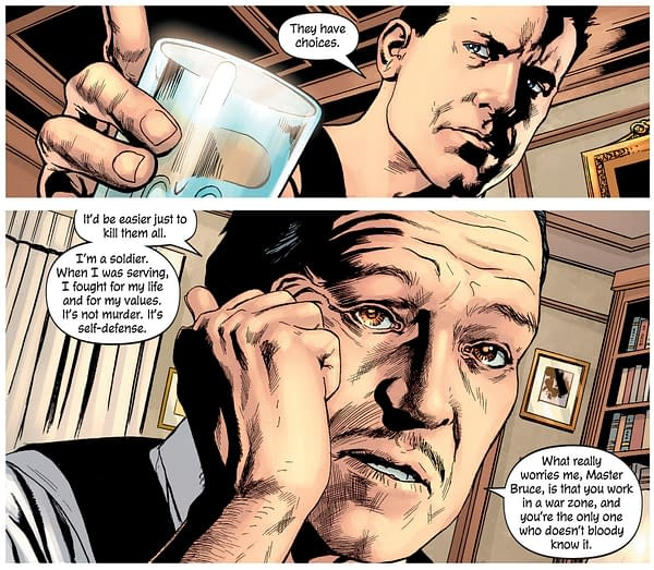 Alfred Pennyworth Critiques Batman as a Rich Man Just Beating Up Poor People
