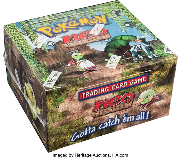 An angled photograph showing the sealed, 1st Edition booster box of Neo Discovery from the Pokémon TCG. Available at auction on Heritage Auctions' website.