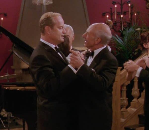 Kelsey Grammer as Frasier Crane and Patrick Stewart as Alistair Burke in Fraiser. Image courtesy of ViacomCBS