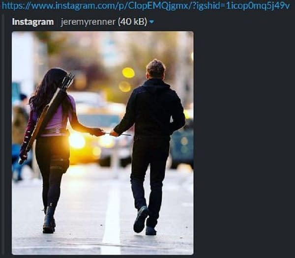Hawkeye star Jeremy Renner posted this image to Instagram before it was removed days later (Image: screencap)