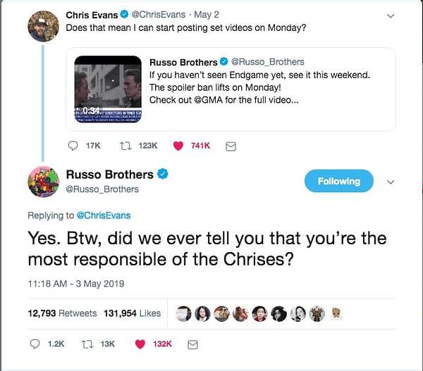 Chris Evans, Most Responsible of the Chrises, Shares 'Avengers: Endgame' BTS Videos