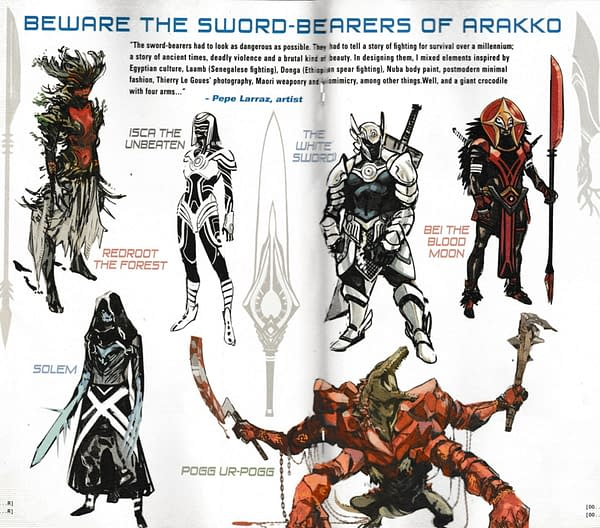 Pepe Larraz' Designs For The Sword Bearers Of Arakko