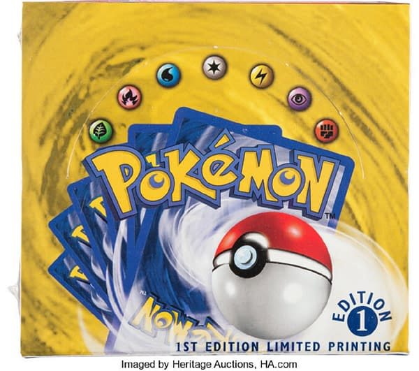 The lid of the first edition Pokémon Trading Card Game Base Set booster box sold by Heritage Auctions for an astounding $360,000.