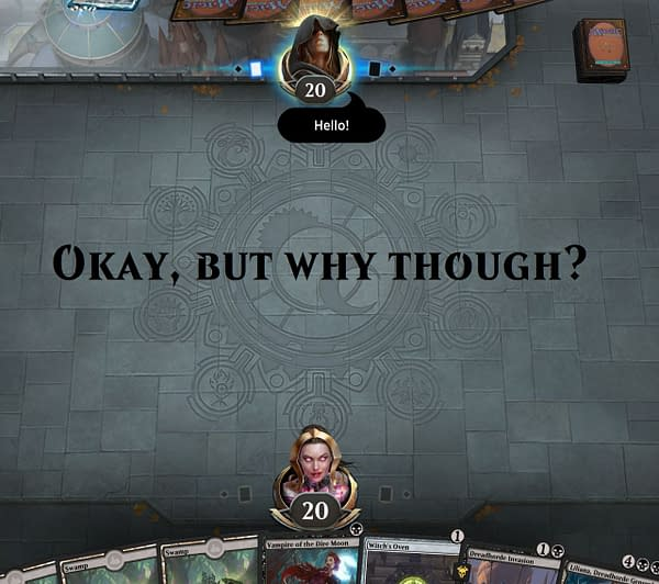 """An example of a player on Magic: The Gathering: Arena using the """"Hello!"""" emote. (screencap credit: Josh Nelson)"""