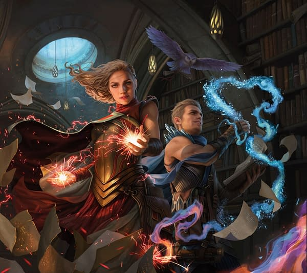 Promotional key art for Magic: The Gathering's newest set, Strixhaven: School of Mages. Illustrated by Magali Villeneuve.
