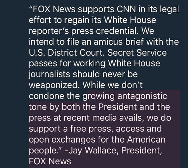 Fox News, More Support CNN in Trump/Acosta Lawsuit; White House Submits Brief (UPDATE)
