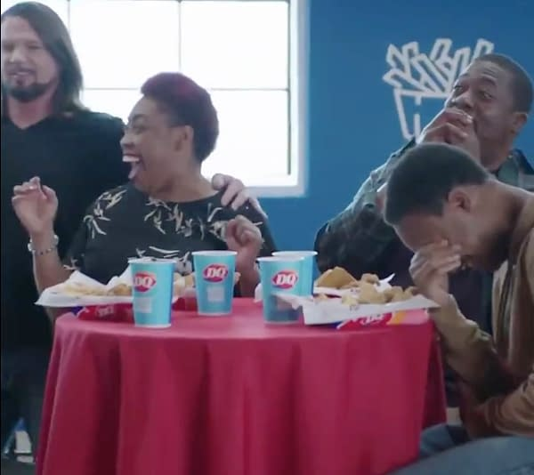 AJ Styles puts the moves on mom in this Dairy Queen commercial. [Screencap]