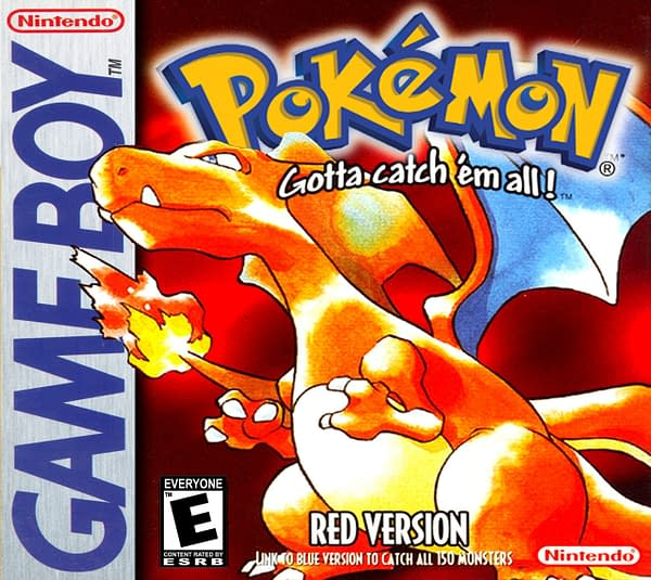 The iconic cover for Pokémon Red Version, a Game Boy game on auction right now at Heritage Auctions. Box Art by Ken Sugimori.