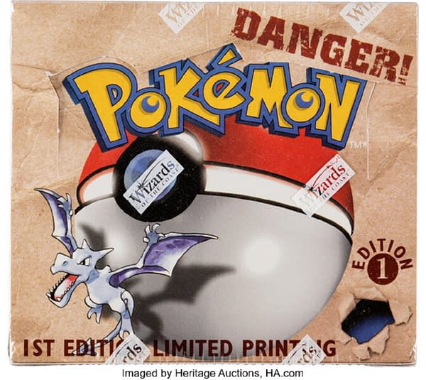The front lid of the 1st Edition Fossil booster box from the Pokémon TCG, currently available at auction on Heritage Auctions' website.