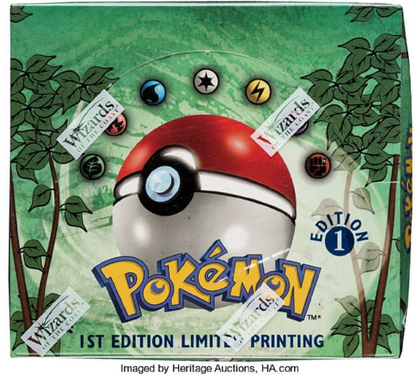 A sealed, first-edition booster box from the Pokémon Trading Card Game's Jungle expansion, being auctioned off at Heritage Auctions right now!