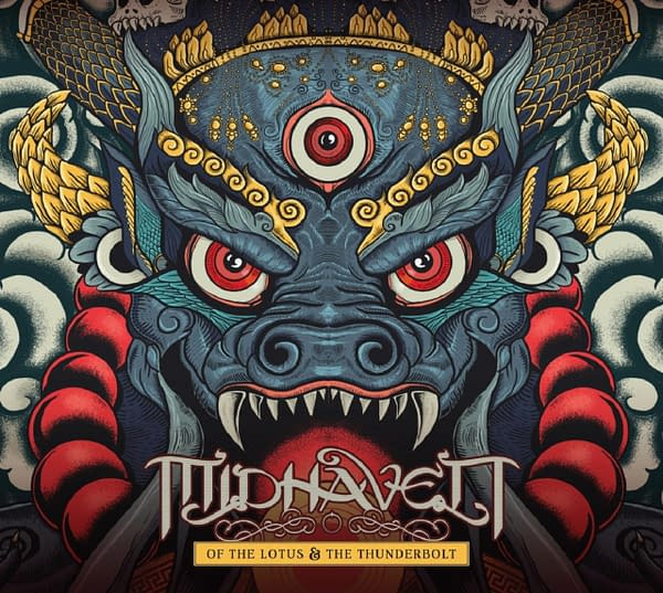 The cover art for Indian metal band Midhaven's newest concept album, Of The Lotus & The Thunderbolt.
