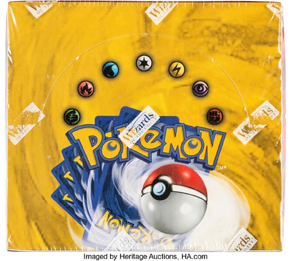 The front lid of the Unlimited booster box of Base Set from the Pokémon TCG, currently available at auction on Heritage Auctions' website.
